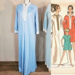 1960s bright baby blue floor length nightgown!